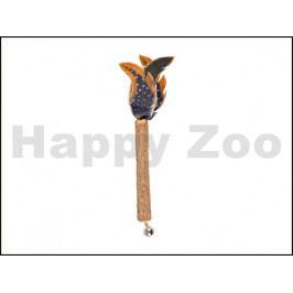 Hračka pro kočky FLAMINGO - Jungle tyčka se zvonkem a peřím 27x2