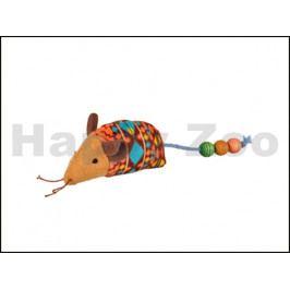 Hračka pro kočky FLAMINGO - Indy myš s kuličkami 16x3x5cm