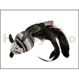 Hračka pro kočky FLAMINGO - Pirin myš černobílá s peřím 5x21x4cm