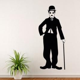 Charlie Chaplin silueta - vinylová samolepka na zeď 80x33cm