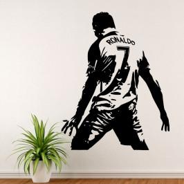 Cristiano Ronaldo slavící gól - vinylová samolepka na zeď 126x100cm