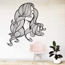 Dámský obličej silueta 6 - vinylová samolepka na zeď 100x89cm