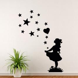 Dívka tanečnice s hvězdami - vinylová samolepka na zeď 100x78cm