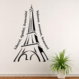Eiffelova věž s nápisem - vinylová samolepka na zeď 80x50cm