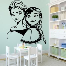 Elza a Anna Frozen - vinylová samolepka na zeď 100x88cm