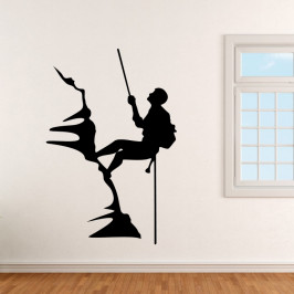 Horolezec na skále - vinylová samolepka na zeď 125x84cm