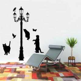 Kočky pod lampou - vinylová samolepka na zeď Výška lampy 170cm