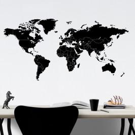Mapa světa jednotlivé státy - vinylová samolepka na zeď 200x100cm