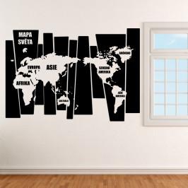 Mapa světa v pruzích - vinylová samolepka na zeď 120x83cm