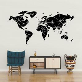 Mapa světa z trojúhelníků - vinylová samolepka na zeď 160x83cm