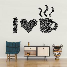 Milujeme kávu - vinylová samolepka na zeď 150x94cm
