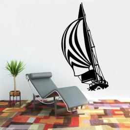 Plachetnice na vlnách - vinylová samolepka na zeď 120x64cm