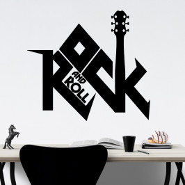 Rock and Roll nápis - vinylová samolepka na zeď 100x89cm