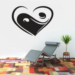 Srdce Jing Jang - vinylová samolepka na zeď 138x100cm