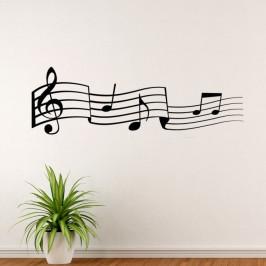 Tančící noty - vinylová samolepka na zeď 100x34cm