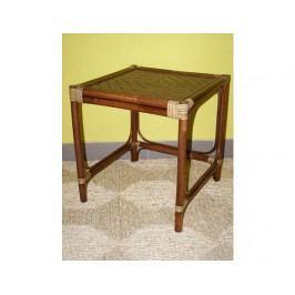 Ratanový stolek hranatý - tmavý