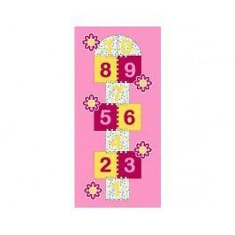 Dětský koberec Skákací panák růžový květiny
