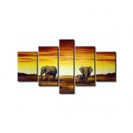 Vícedílné obrazy - Sloní rodinka