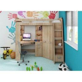 Multifunkční dětská patrová postel se stolem a skříní Antresola