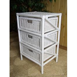 Ratanový prádelník 3 zásuvky - bílý ratan