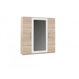 Šatní skříň AVRORA 4D dub sonoma / bílá
