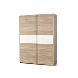 Skříň s posuvnými dveřmi LIMA S1, dub sonoma / bílá