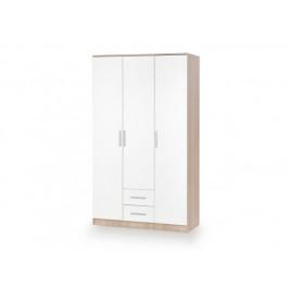 Šatní skříň LIMA S3, dub sonoma/bílá