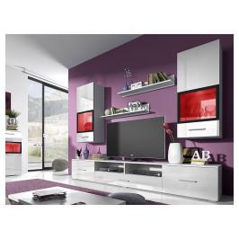 Moderní obývací stěna Sára, bílý lesk