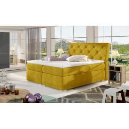 Moderní box spring postel Bralin 180x200, žlutá