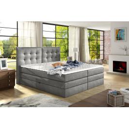 Luxusní box spring postel Field 180x200, tmavě šedá - AKCE