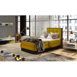 Moderní box spring postel Adria 90x200, žlutá Roh: Orientace rohu Levý roh