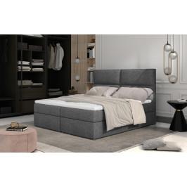 Prodloužená box spring postel Adam 210x185cm, šedá
