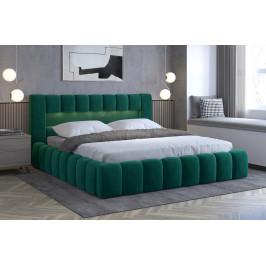 Moderní postel Lebrasco, 180x200cm, zelená Monolith + LED