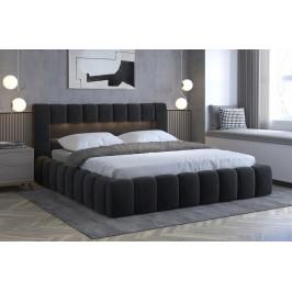 Moderní postel Lebrasco, 180x200cm, černá Monolith + LED