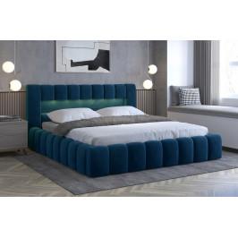 Moderní postel Lebrasco, 180x200cm, modrá Monolith + LED