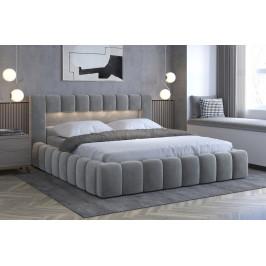 Moderní postel Lebrasco, 180x200cm, šedá Monolith + LED