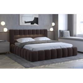 Moderní postel Lebrasco, 180x200cm, hnědá Monolith + LED