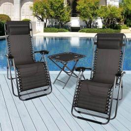 Nulová gravitační zahradní židle se stolem, 2ks