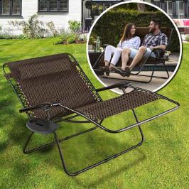 Nulová gravitační zahradní židle pro 2 osoby, 2 držáky na sklenici