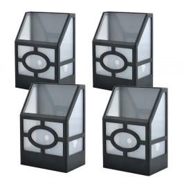 Venkovní černá solární lampa, 4 ks