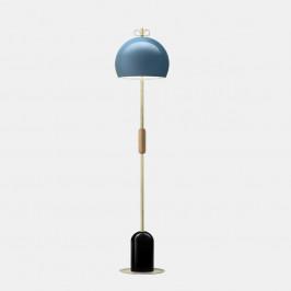Il Fanale Bon Ton, stojací lampa z mosazi, dřeva, černá základna, modré stínítko, 3x30W E14, výška 157,4cm
