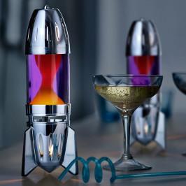 Mathmos Fireflow R1 silver, originální lávová lampa stříbrná s fialovou tekutinou a oranžovou lávou, pro čajovou svíčku, výška 24cm