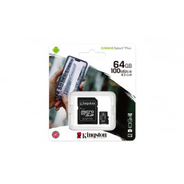 Kingston Micro SDXC Canvas Select Plus 100R 64GB 100MB/s UHS-I + adaptér (SDCS2/64GB)