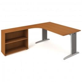 Sestava stolu a skříně pravá 180 cm - Hobis Flex FE 1800 H P Dekor stolové desky: třešeň, Barva nohou: Stříbrná