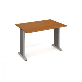 Stůl jednací rovný 120 cm - Hobis Flex FJ 1200 Dekor stolové desky: třešeň, Barva nohou: Stříbrná