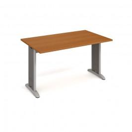 Stůl jednací rovný 140 cm - Hobis Flex FJ 1400 Dekor stolové desky: třešeň, Barva nohou: Stříbrná