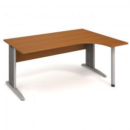 Stůl ergo oblouk levý 180×120/80 cm - Hobis Cross CE 1800 L Dekor stolové desky: třešeň, Dekor lamino podnože: třešeň, Barva nohou: Stříbrná