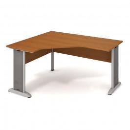Stůl ergo lomený pravý 160×120/60 cm - Hobis Cross CEV 60 P Dekor stolové desky: třešeň, Dekor lamino podnože: třešeň, Barva nohou: Stříbrná