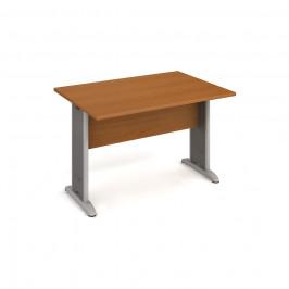 Stůl jednací rovný 120 cm - Hobis Cross CJ 1200 Dekor stolové desky: třešeň, Dekor lamino podnože: třešeň, Barva nohou: Stříbrná