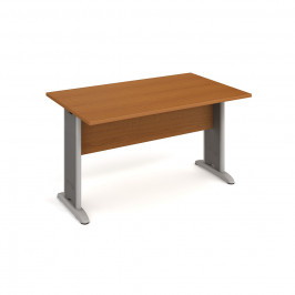 Stůl jednací rovný 140 cm - Hobis Cross CJ 1400 Dekor stolové desky: třešeň, Dekor lamino podnože: třešeň, Barva nohou: Stříbrná